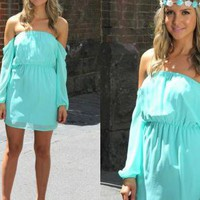 Turquoise Mini Dress with Chiffon Sleeves