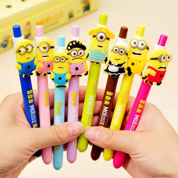 8pcs/lot Cut kawaii Korea stationery small yellow people Totoro Gel Pen creative item school & office supplies 260