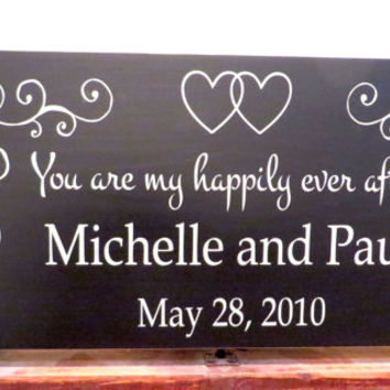 You are my happily ever after personalized name wood sign - distressed sign - wedding sign - anniversary sign - wall hanging sign - wall art