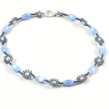 Blue Anklet Cat Eye Beaded Daisy Chain Seed Bead Jewelry