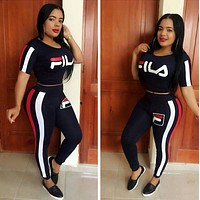 FILA Women Casual Print Top Pants Trousers Set Two-Piece Sportswear Purple