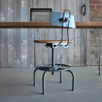 "Wood desk with mid century Hairpin legs with 1 drawer included, 48"" l x 26"" w x 30"" h, 1.65"" top"
