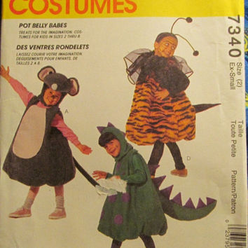SALE Uncut Vintage McCall's Sewing Pattern, 7340! Size 2 Toddlers/Kids/Children Halloween Costumes/Dragons/Mice/bumble Bee/Fleece/Puffy Patt