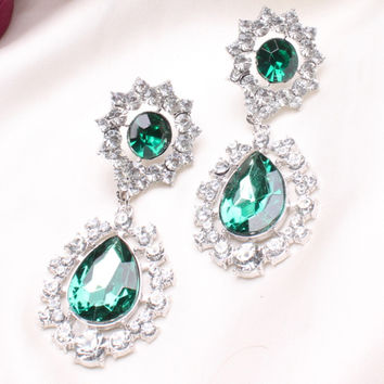 C124 explosion models in Europe and America exaggerated diamond earrings diamond flower earrings  Hot new jewelry  GREEN