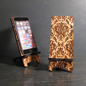 Wood Smart Phone Stand and Docking Station 5 Sizes for iPhone 6, iPhone 6 Plus, iPhone 5, iPhone 4, Universal - Victorian Damask Pattern