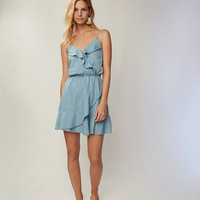 Denim Ruffle Front Dress