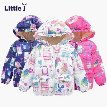 Little J Kids Boys Girls Hooded Floral Coat Baby Cartoon Animal Print Jacket Children Fleece Padded Outwear Chaqueta Quateada