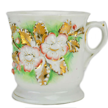 Floral Design Coffee Cup, Antique German Early 1900s