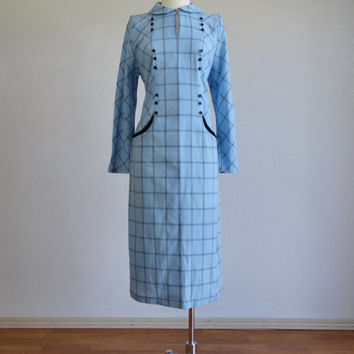 1940s light blue plaid dress - 40s vintage dress - cotton dress - peter pan collar - long sleeve shift dress - antique mid century - small s