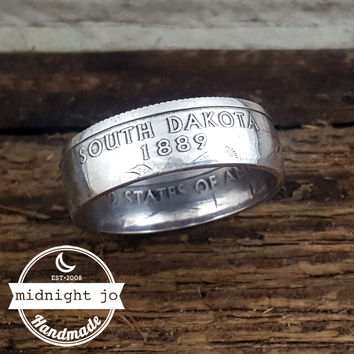South Dakota 90% Silver State Quarter Coin Ring