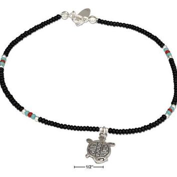 "Sterling Silver Bracelet:  9"" Black And Silver Beaded Anklet With Turtle Dangle"