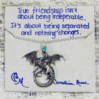 Dragon Charm Necklace and Quote Inspirational Card Inspired by Game of Thrones - Bridesmaids Gift-Friendship Necklace-Friends Forever Gift