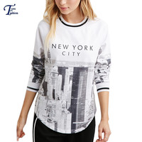 Kawaii Ladies 2016 Casual Pullovers White Long Sleeve Round Neck NEW YORK CITY Patterns Print Sweatshirt