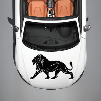 ANIMAL LION PREDATOR WILDCAT ART DESIGN  HOOD CAR VINYL STICKER DECALS SV1235
