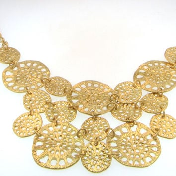 Matte Gold Plated Bib Multi Filigree Disc Necklace