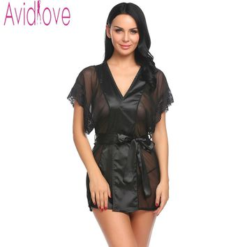 Avidlove Bathrobe Women Bridesmaid Robes Soft Sexy Short Kimono Robe Home Dressing Gown Half Sleeve Silk Wedding Robes Peignoir
