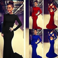 Women Sexy Prom Ball Cocktail Evening Maxi Dress Long Sleeve Formal Party Gown