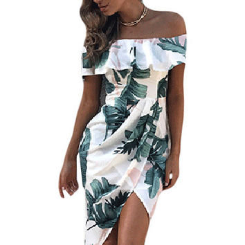 Tropical Palm Leaf Ruffle Off Shoulder Wrap Boho Dress