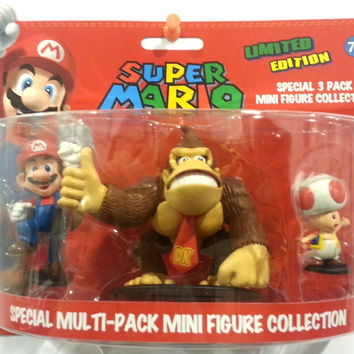 Super Mario - Mini Figures 3 Pack Collection - SPECIAL MULTI-PACK (Mario, Donkey Kong & Toad)