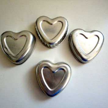 Vintage heart baking molds or cake molds, cookie molds, jello or ice molds