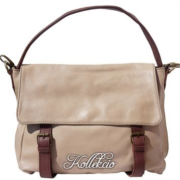 Taupe Italian Leather Bag with Detachable Shoulder Straps
