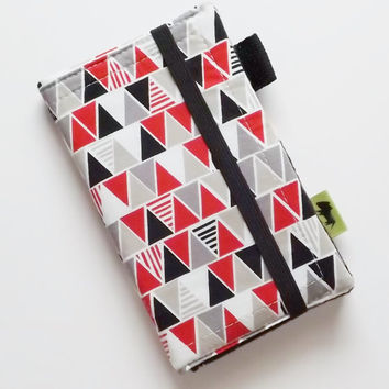 Tribal iphone 6 wallet samsung phone wallet vegan womans wallet iphone 5 wristlet tribal design android smartphone womans gift red and gret