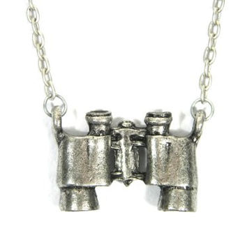 Binoculars Necklace Vintage Silver Tone Explorer Charm Pendant NB02 Fashion Jewelry