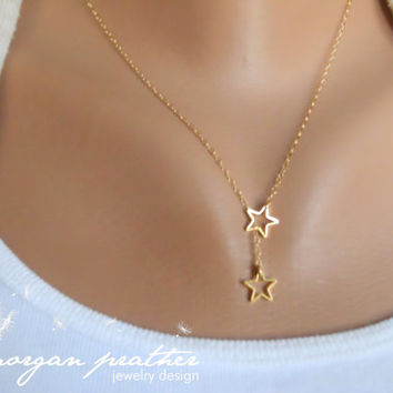 Tiny Star Lariat Necklace - Dainty Little Star Shape Brass Charm Suspended on Gold Filled Chain - morganprather