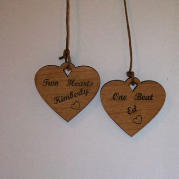 Personalized engraved wood hanging heart set