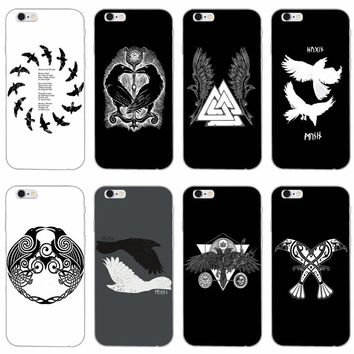 Viking odin norse Huginn and Muninn slim silicone Soft phone case For iPhone 4 4s 5 5s 5c SE 6 6s plus 7 7plus 8 8plus X