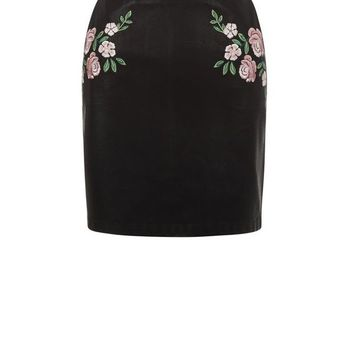Black Floral Embroidered Leather-Look A-Line Skirt