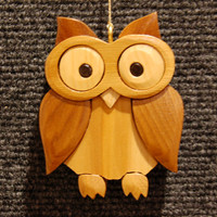 OWL CHRISTMAS ORNAMENT Wood Carving.  Owls are a traditional symbol of wisdom, this cute little hoot owl, is ready for your holiday tree.