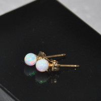 4mm Ball Stud Post earrings, Opal Earrings, 14K Gold Earrings,  Australian Opal, Opal Jewelry, White Opal