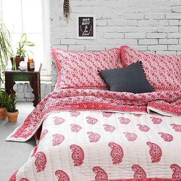 Magical Thinking Red Paisley Block Quilt- Red