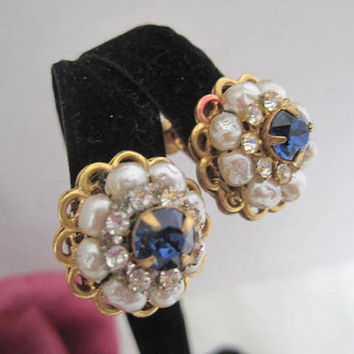 Miriam Haskell Blue Rhinestone Earrings with Pearls