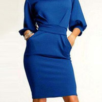 Blue Half Sleeve Bodycon Midi Dress
