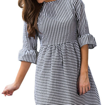 Black White Stripe Flounce Sleeve O-Neck Seersucker Dress