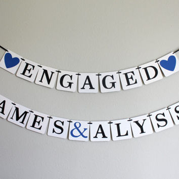 engagement party decorations - bridal shower banner - bridal shower decorations - engagement banner - Engaged - name banner set