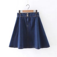 Summer Women's Fashion With Pocket Denim Dress Skirt [4920250308]