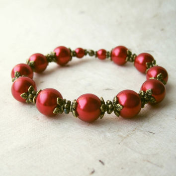 Red Pearl Bracelet. Ruby Red Bridesmaid Bracelet with Antique Bronze Floral Accents. Red Bridal Party Jewelry. Elegant Stretch Bracelet.