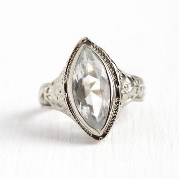 Vintage Aquamarine Ring - Art Deco 14k White Gold Filigree 2.10 CT Genuine Gemstone - 1920s Size 5 Blue March Birthstone Fine Jewelry