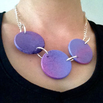 Painted wooden Necklace, Wooden necklace, Pink, Blue, Lilac, necklace, Wooden necklace, Handmade necklace,