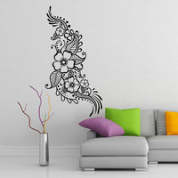 Henna Pattern with Flowers Tattoo Design Vinyl Wall Sticker, Art Decor Car Decals. Indian Mehandi Decals for Surging board, Snowboard.
