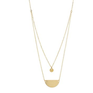 Double Layer Half Circle & Ball Necklace