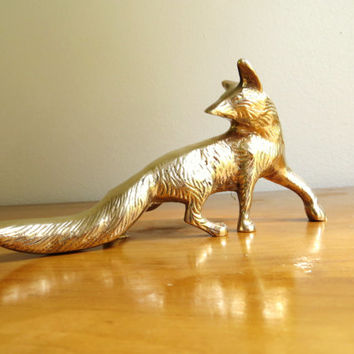 Vintage Brass Fox Figurine, Fox Statue, Woodland Animal Collectible, Paperweight