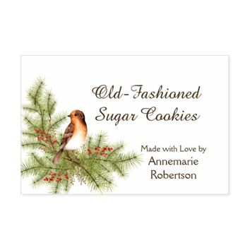 Watercolor Christmas Bird Holly Berries Pine Food Label