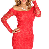 Red Lace Long Sleeves Sexy Body Con Dress