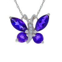 2 Carat Natural Amethyst Butterfly Pendant .925 Sterling Silver Rhodium Finish