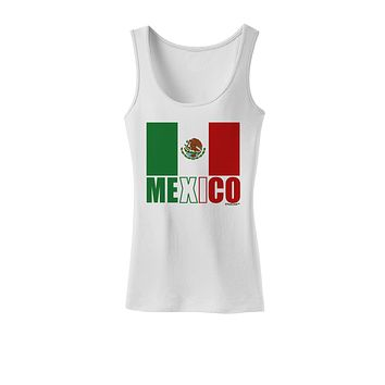 Mexican Flag - Mexico Text Womens Tank Top by TooLoud