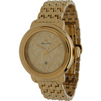 Glam Rock 40mm Gold Plated Flower Applique Dial Watch with 7-Link Bracelet - GR77025